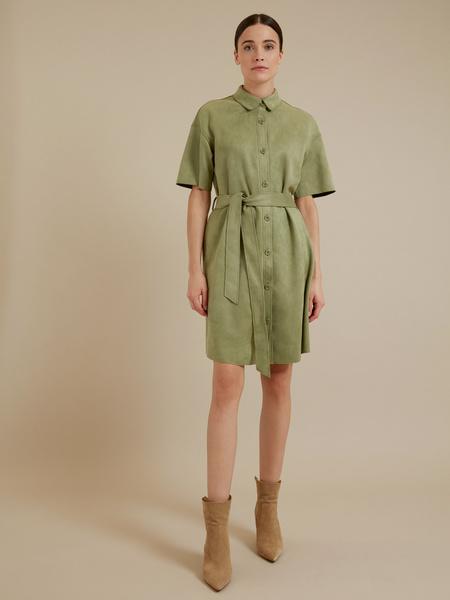 Платье-рубашка имитация замша - фото 1