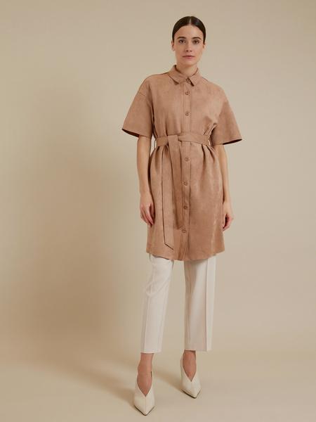 Платье-рубашка имитация замша - фото 5