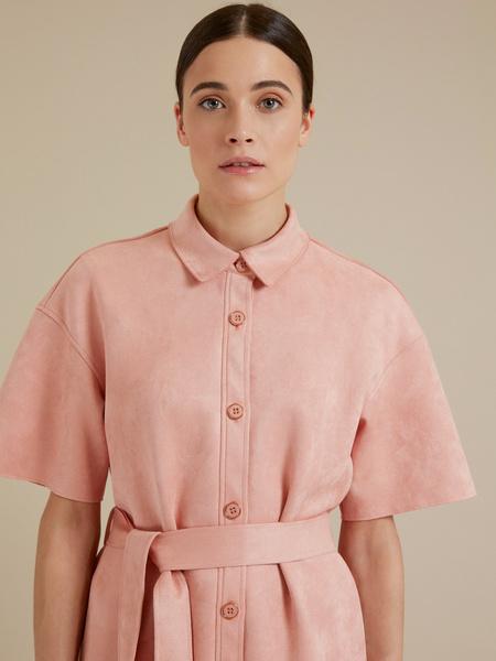 Платье-рубашка имитация замша - фото 2