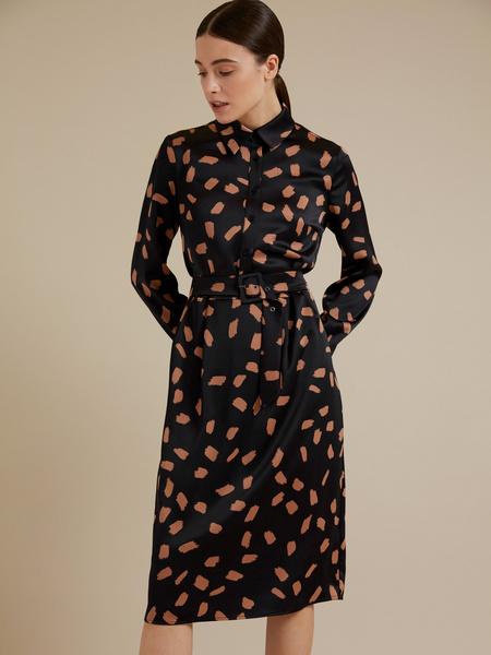 Атласное платье-миди с поясом - фото 3