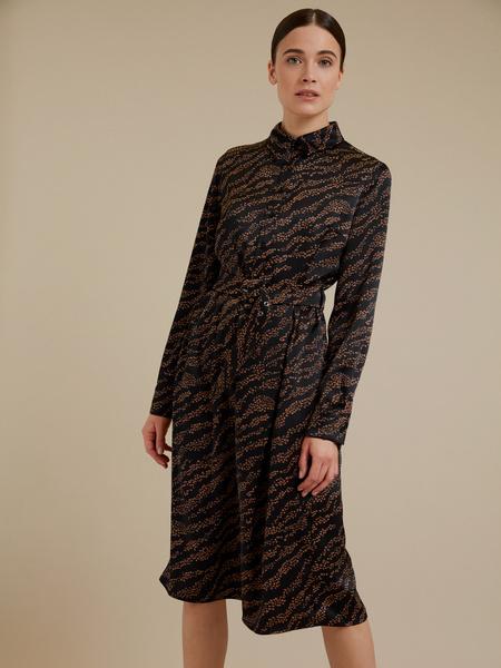 Атласное платье-миди с поясом - фото 4