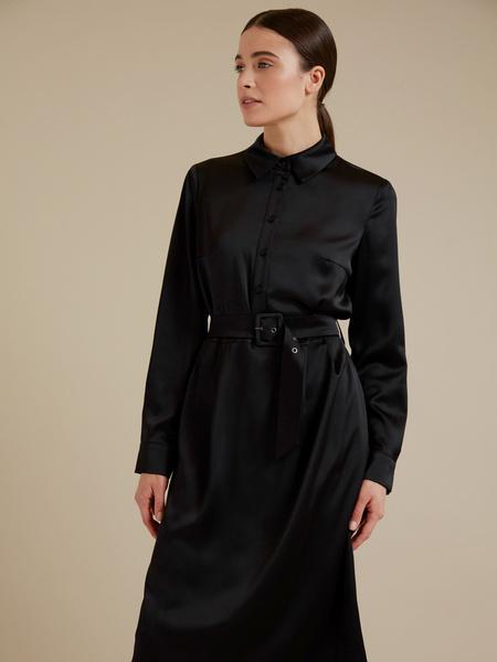 Атласное платье-миди с поясом