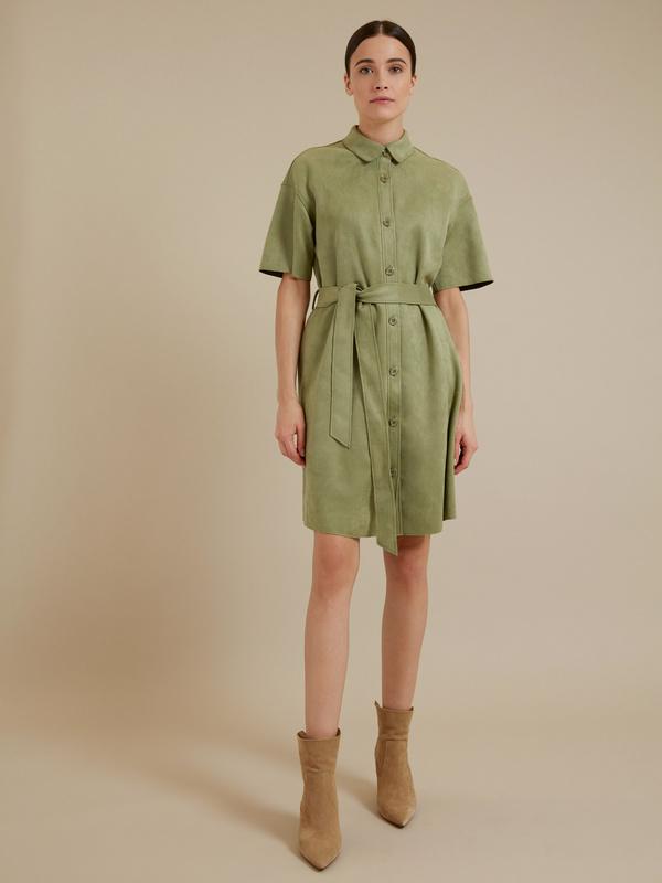 Платье-рубашка имитация замша