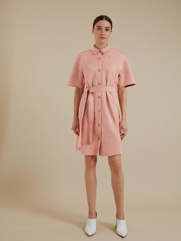 Платье-рубашка имитация замша - фото 3