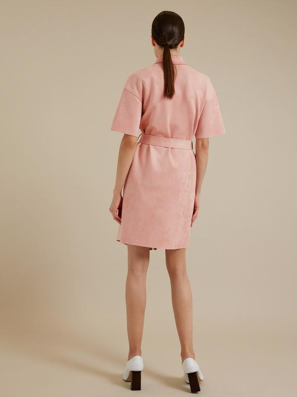 Платье-рубашка имитация замша - фото 4