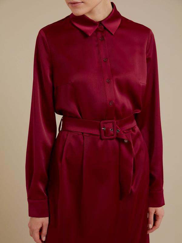 Атласное платье-миди с поясом - фото 2