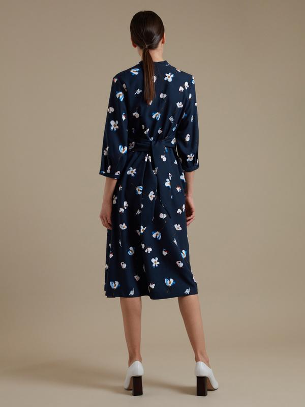 Платье-миди с цветочным принтом - фото 5