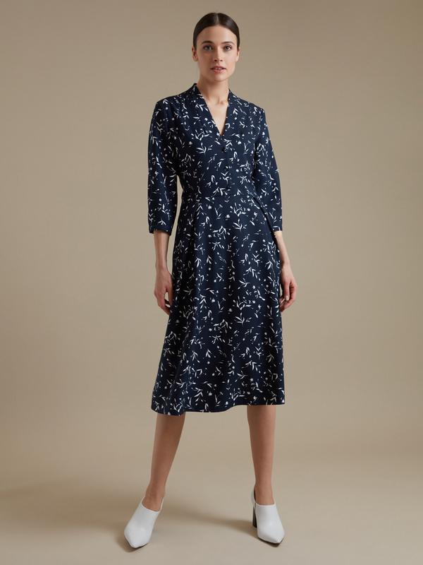Платье-миди с цветочным принтом - фото 3