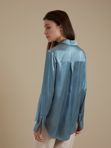 Атласная блузка оверсайз - фото 4