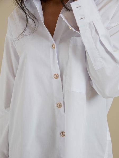 Рубашка оверсайз с декоративными пуговицами - фото 2