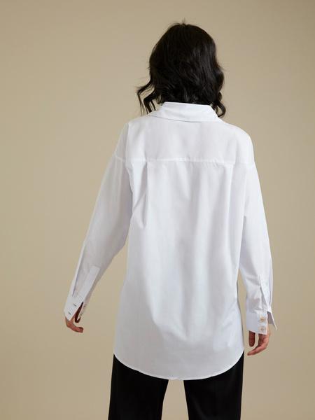 Рубашка оверсайз с декоративными пуговицами - фото 4