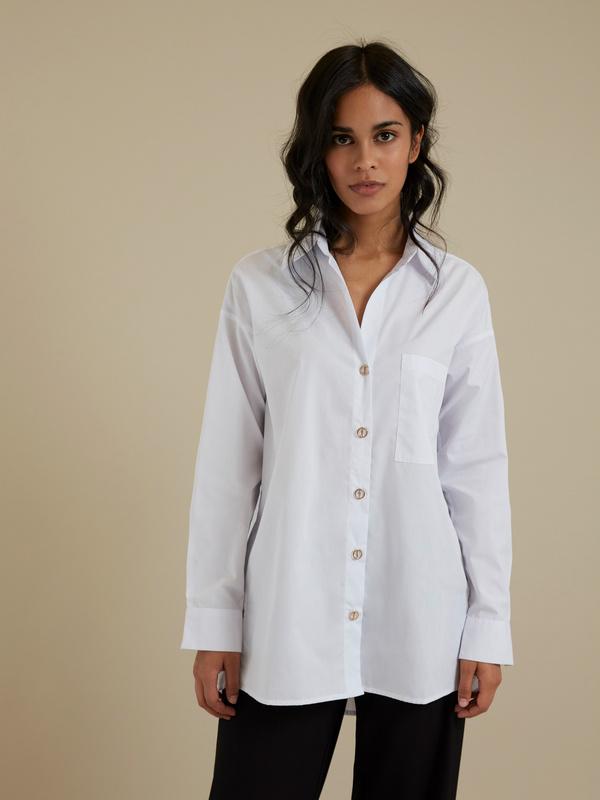Рубашка оверсайз с декоративными пуговицами - фото 1
