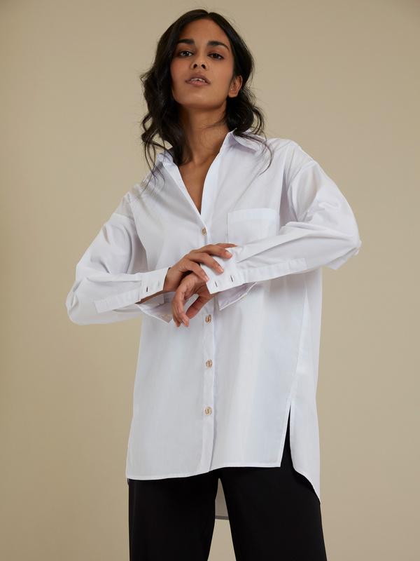 Рубашка оверсайз с декоративными пуговицами - фото 3
