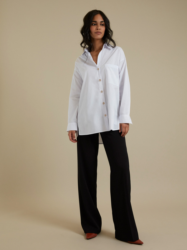 Рубашка оверсайз с декоративными пуговицами - фото 5