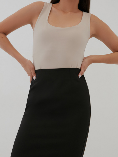 Облегающая юбка-миди с разрезом - фото 3