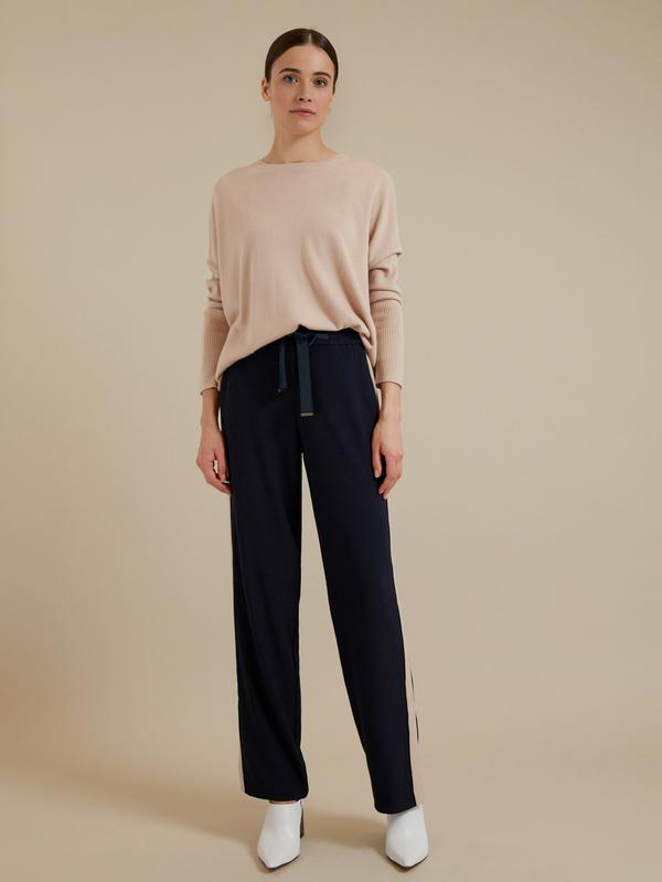 Широкие брюки на завязках с разрезами - фото 1