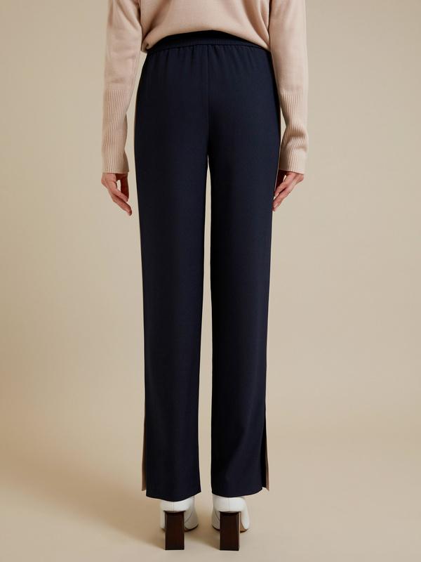 Широкие брюки на завязках с разрезами - фото 4