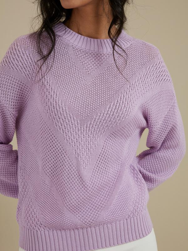 Джемпер комбинированной вязки - фото 2