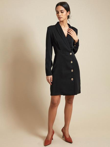 Платье-пиджак с пуговицами - фото 1