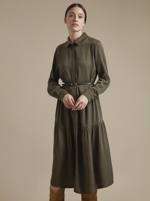 Платье-миди с ремешком 100% вискоза - фото 1