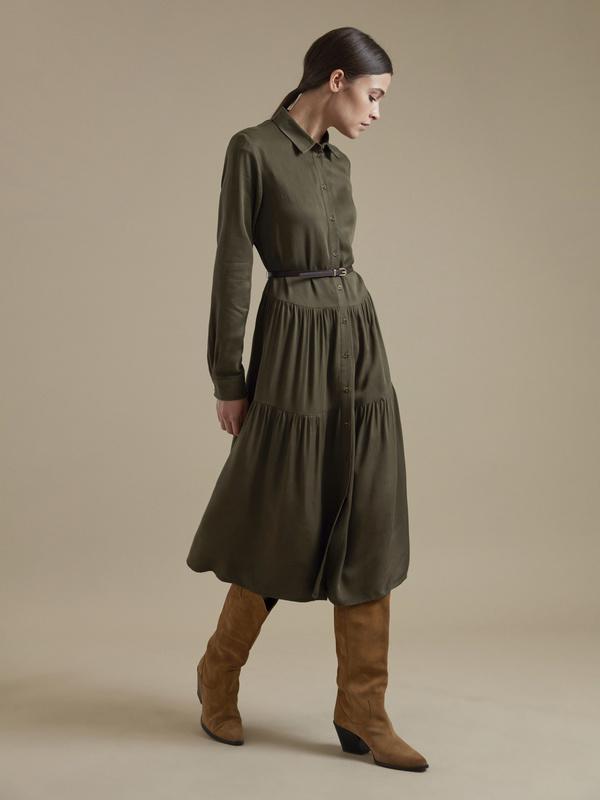 Платье-миди с ремешком 100% вискоза - фото 4