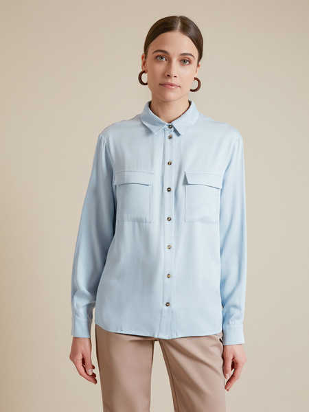 Блузка с накладными карманами 100% вискоза - фото 1