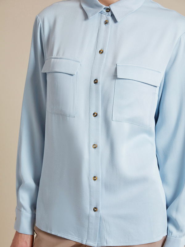 Блузка с накладными карманами 100% вискоза - фото 3