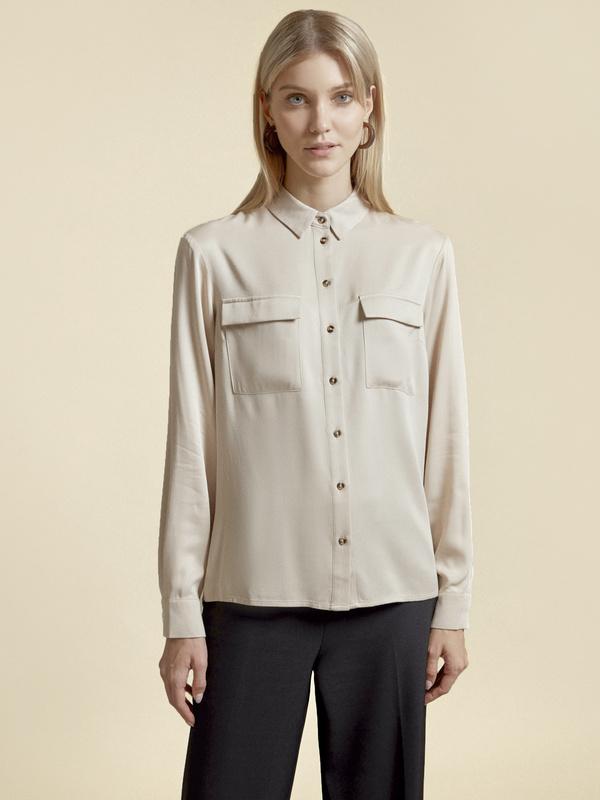 Блузка с накладными карманами 100% вискоза - фото 2