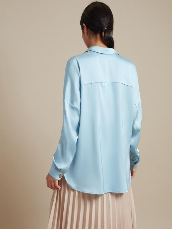 Атласная блузка с асимметричным низом - фото 4