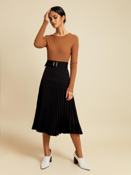 Плиссированная юбка-миди с поясом - фото 1