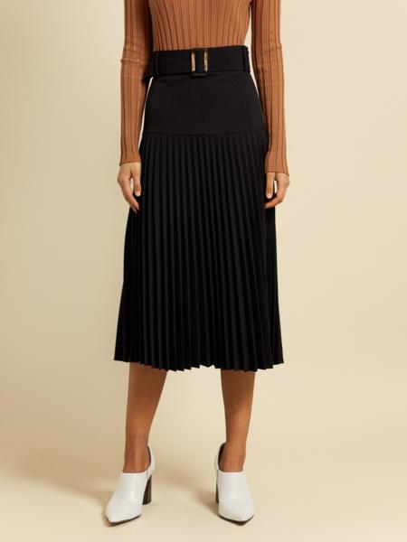 Плиссированная юбка-миди с поясом - фото 3