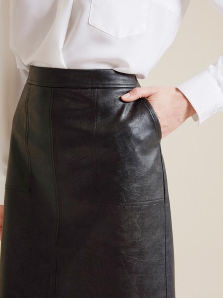 Юбка из экокожи с карманами - фото 3