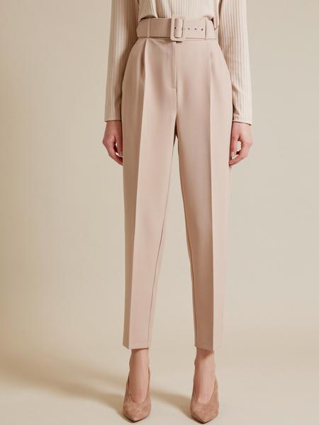Зауженные брюки с поясом - фото 2