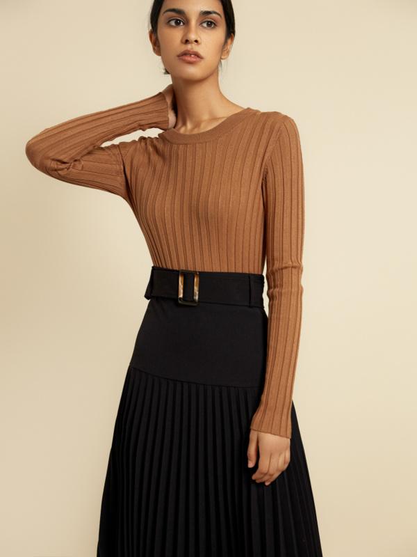 Плиссированная юбка-миди с поясом - фото 2
