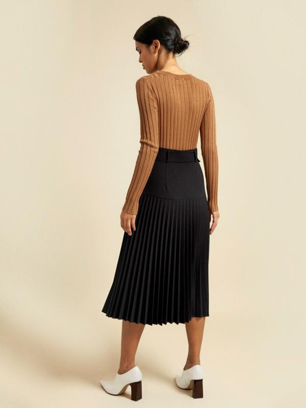 Плиссированная юбка-миди с поясом - фото 4