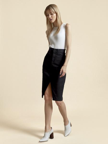 Джинсовая юбка с разрезом - фото 1