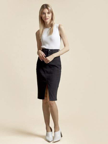 Джинсовая юбка с разрезом - фото 5