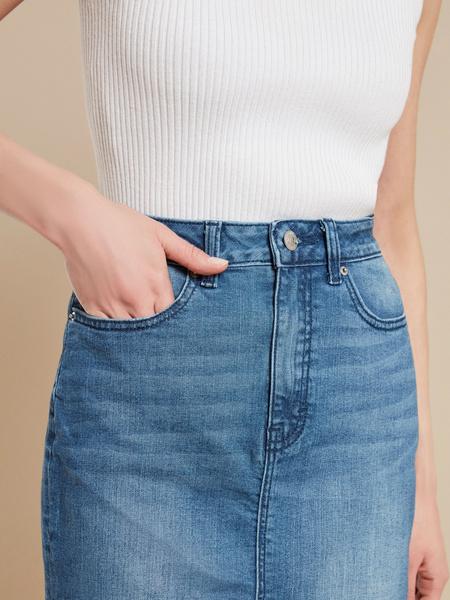 Юбка джинсовая с разрезом - фото 3