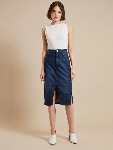 Юбка джинсовая с разрезом - фото 2