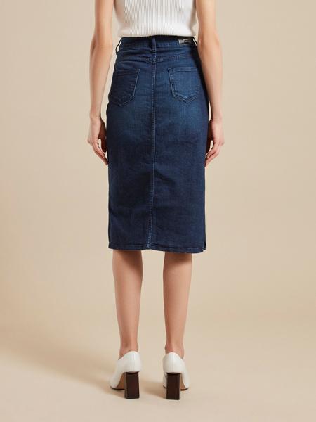 Юбка джинсовая с разрезом - фото 4