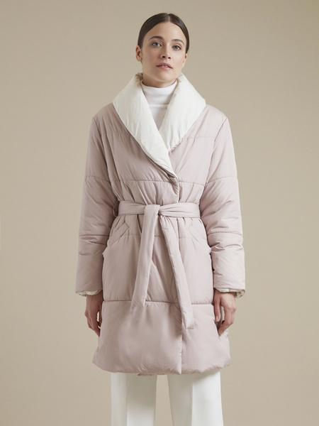Стеганое пальто с поясом - фото 3
