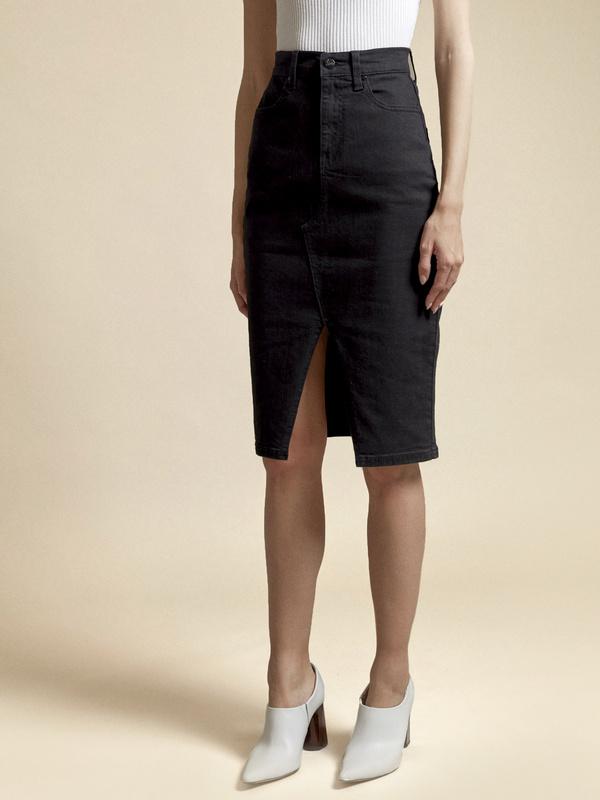Джинсовая юбка с разрезом - фото 2