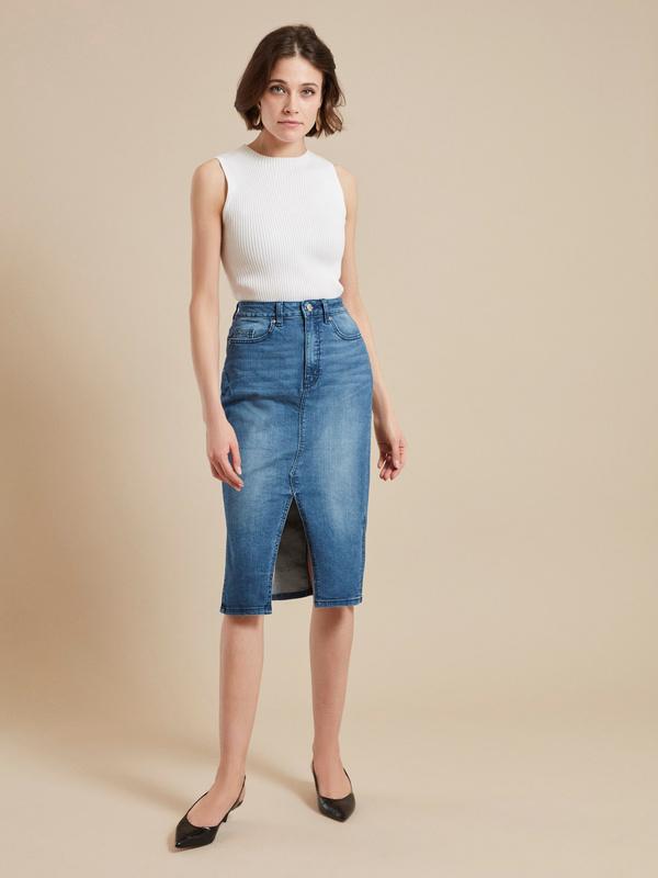 Юбка джинсовая с разрезом