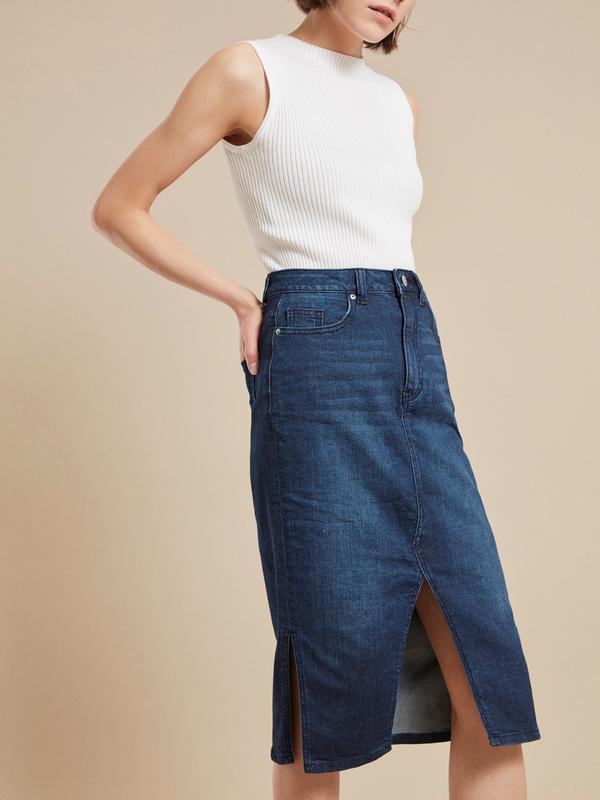 Юбка джинсовая с разрезом - фото 1