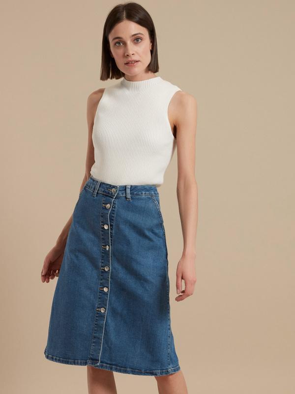 Юбка-миди джинсовая на пуговицах - фото 1