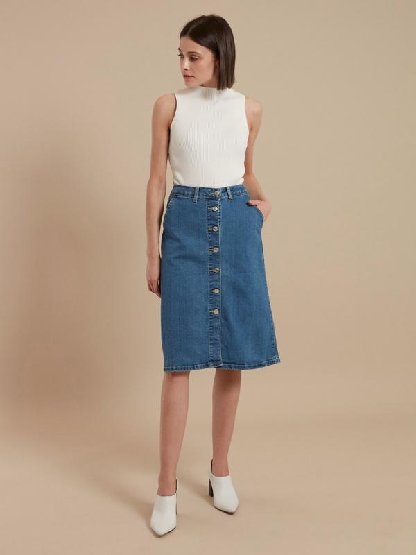 Юбка-миди джинсовая на пуговицах - фото 2