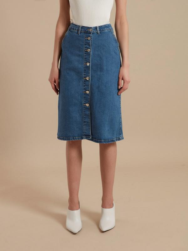 Юбка-миди джинсовая на пуговицах - фото 3