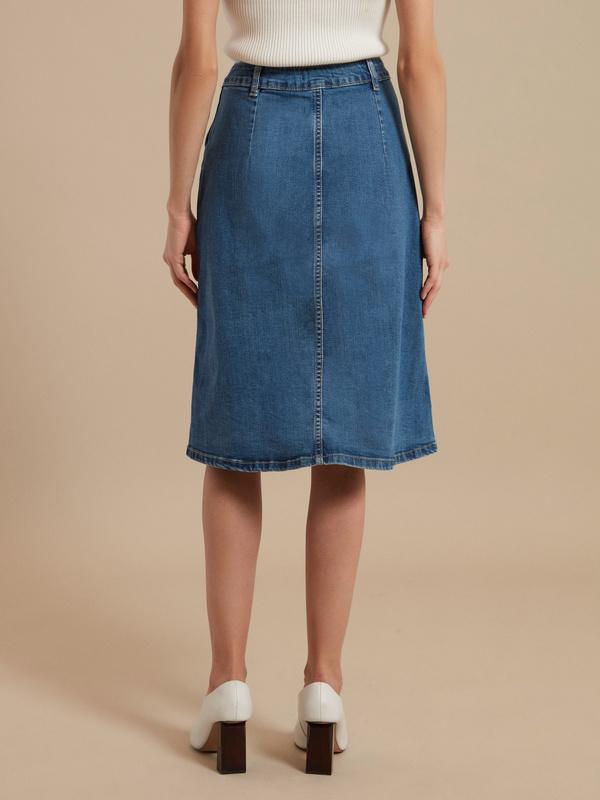 Юбка-миди джинсовая на пуговицах - фото 5