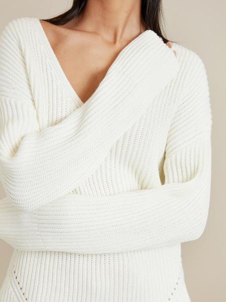 Удлиненный джемпер ажурной вязки - фото 2