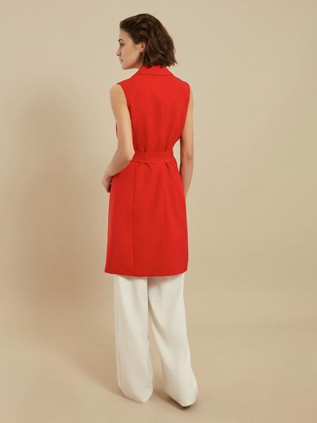 Платье-жилет с поясом и карманами - фото 3